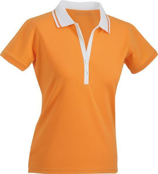 Damen Poloshirt ~ orange/weiß M