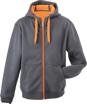 Komfortable Damen Sweatjacke mit Kapuze ~ carbon/orange L