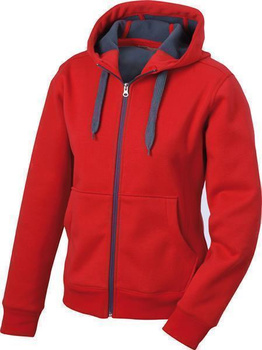 Komfortable Damen Sweatjacke mit Kapuze ~ rot/carbon XL
