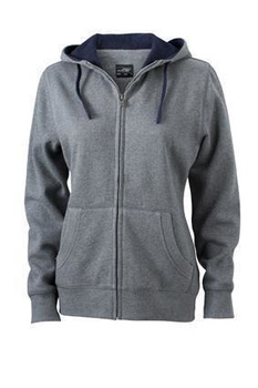 Ladies Lifestyle Zip-Hoody ~ grau-melange/navy S