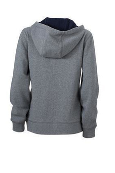 Ladies Lifestyle Zip-Hoody ~ grau-melange/navy XXL