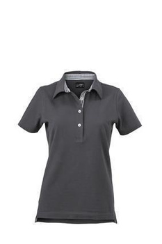 Damen Poloshirt Plain ~ graphit/weiß XL