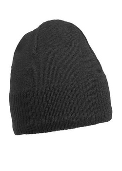 Knitted Beanie with Fleece Inset ~ schwarz