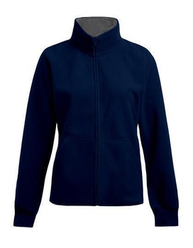 Damen Double Fleece Jacke von Promodoro ~ navy/hellgrau (Solid) L