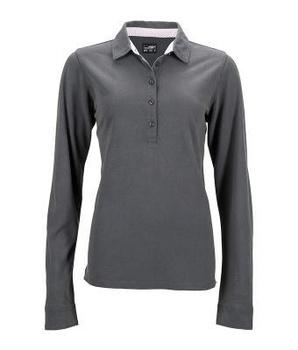 be60ccf2a4a8f4 Damen Langarm Polohemd mit modischen Details JN714