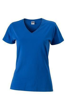 Damen Slim Fit V-Neck T-Shirt ~ cobalt M