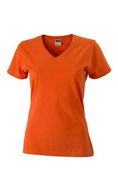 Damen Slim Fit V-Neck T-Shirt ~ dunkel-orange S