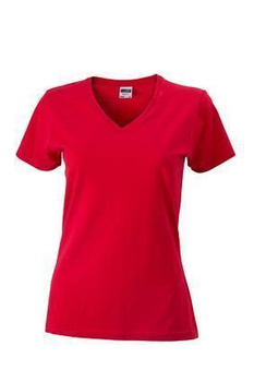 Damen Slim Fit V-Neck T-Shirt ~ rot L