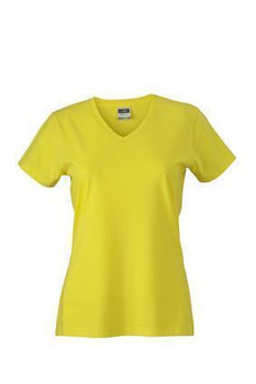 Damen Slim Fit V-Neck T-Shirt ~ gelb L