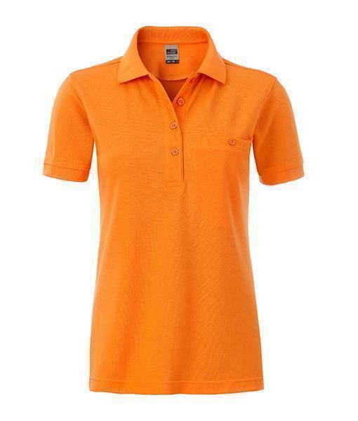 damen arbeits poloshirt mit brusttasche orange m 18 70. Black Bedroom Furniture Sets. Home Design Ideas