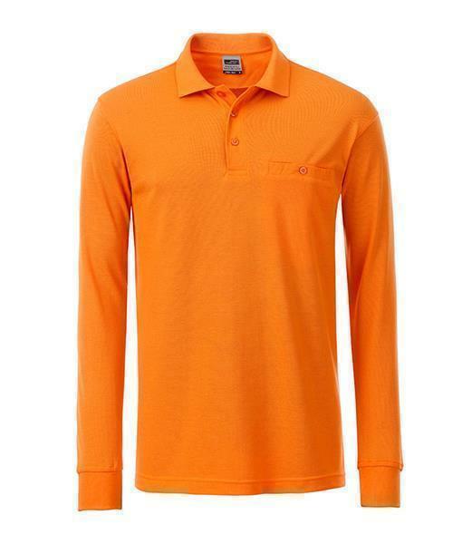 herren arbeits langarm polshirt mit brusttasche orange 4xl. Black Bedroom Furniture Sets. Home Design Ideas